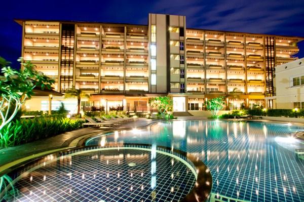 facade pool night