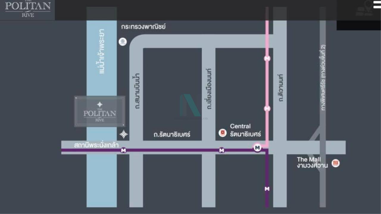 NOPPON REAL ESTATE CO.,LTD.  Agency's For rent The Politan River 1 bedroom 42th floor near MRT Phra Nangklao 8