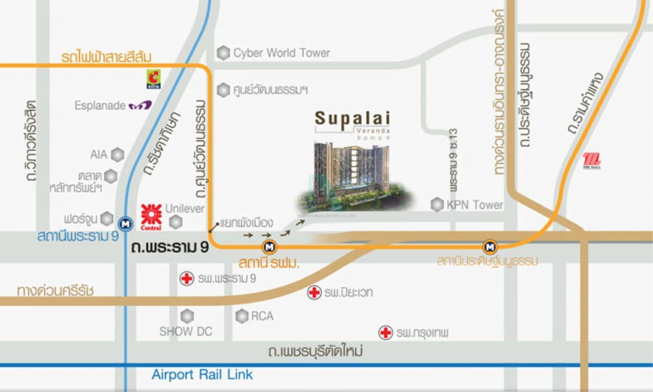 NOPPON REAL ESTATE CO.,LTD. Agency's For rent Supalai Veranda Rama 9 Studio Floor 30 Building B. 8