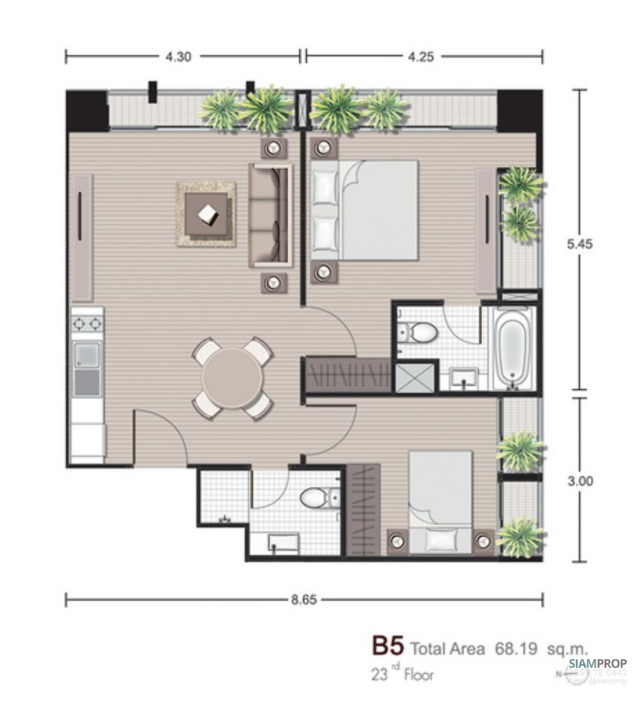 Siam Prop Agency's Noble Reveal Ekamai - 2 Bedrooms for rent 55,000 THB, 150 m. from BTS Ekamai 6