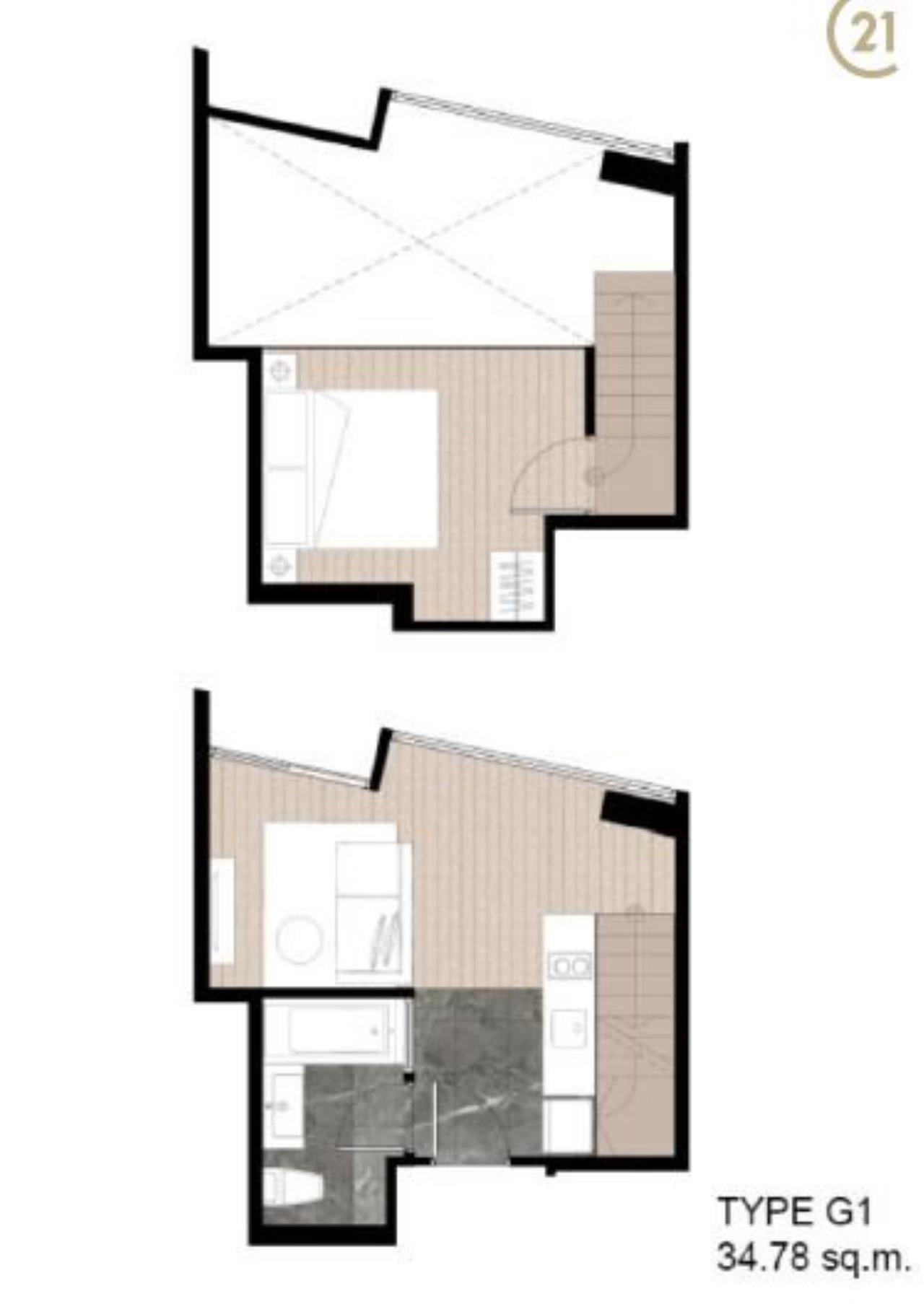 Century21 Skylux Agency's Walden Sukhumvit 39 / Condo For Sale / 1 Bedroom / 34.78 SQM / BTS Phrom Phong / Bangkok 1