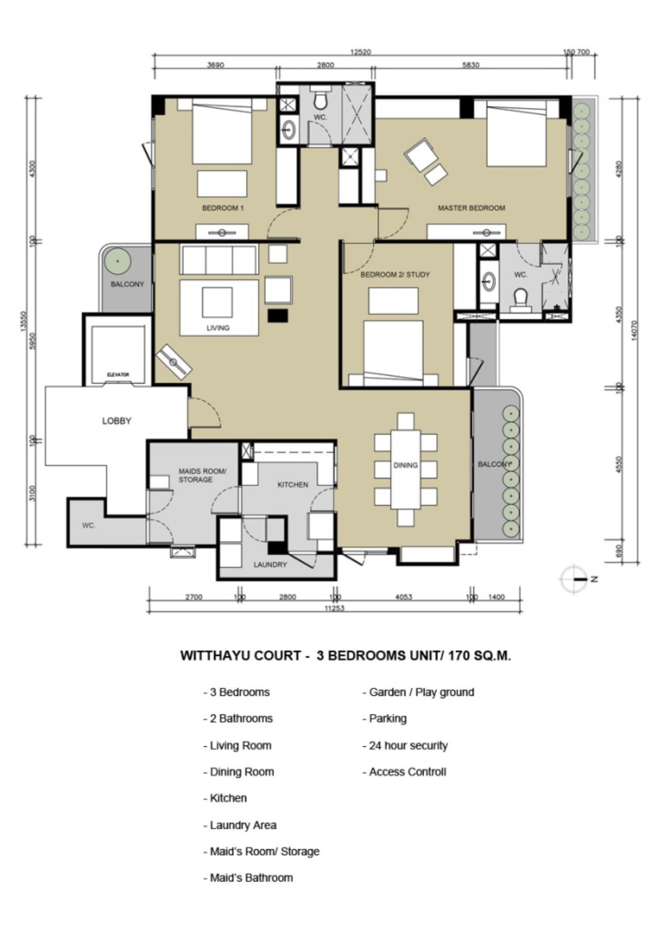 Century21 Skylux Agency's Witthayu Court / Apartment (Serviced) For Rent / 3 Bedroom / 170 SQM / BTS Phloen Chit / Bangkok 10
