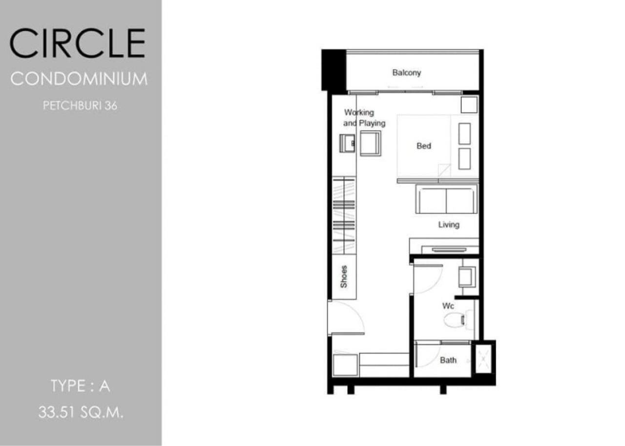Century21 Skylux Agency's Circle Condominium / Condo For Sale / 1 Bedroom / 33.51 SQM / MRT Phetchaburi / Bangkok 9