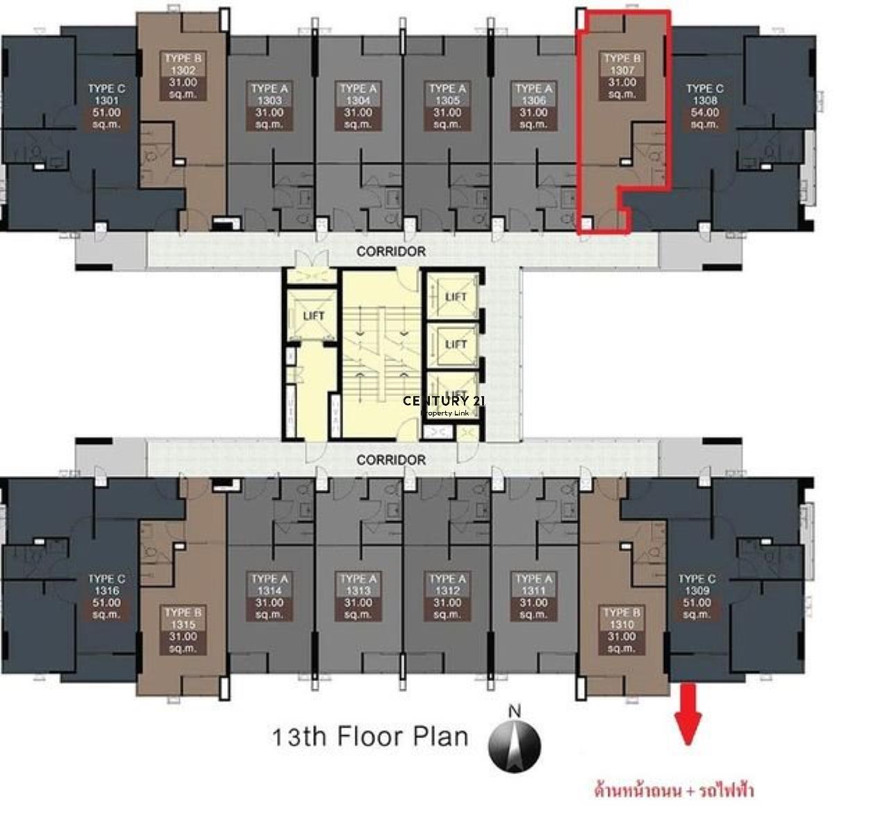 Century21 Property Link Agency's 38-CC-61552 Room for Sale Bangkok Horizon P48 near MRT Phet kasam48 BTS Bang wa 7