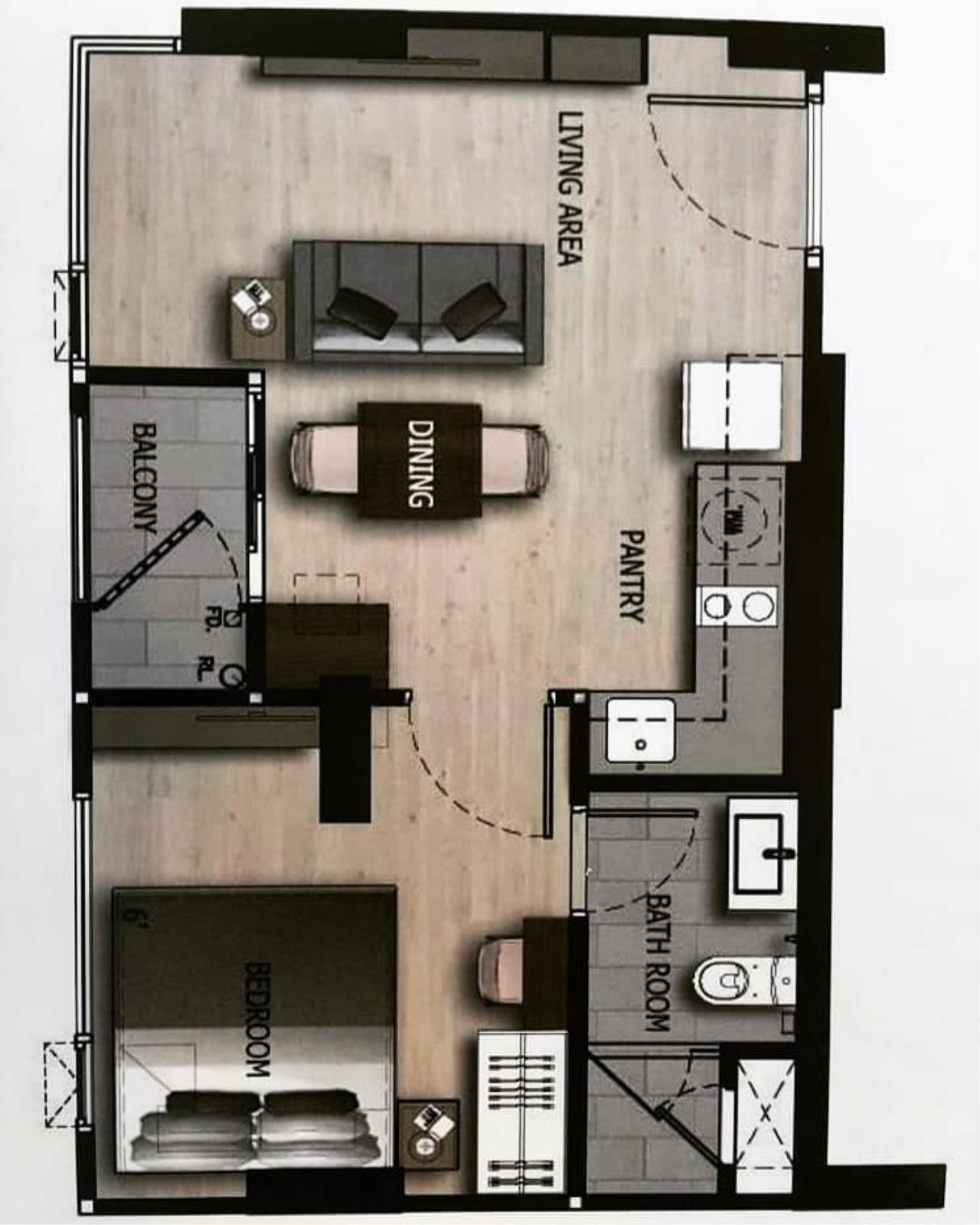 Agent - Prombood Agency's Sale - 1 Bedroom 36.5 sq.m. The Unique 19 near Ratchadapisek and Ladprao MRT Station 8