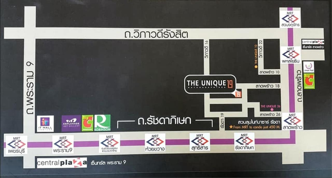 Agent - Prombood Agency's Sale - 1 Bedroom 36.5 sq.m. The Unique 19 near Ratchadapisek and Ladprao MRT Station 9