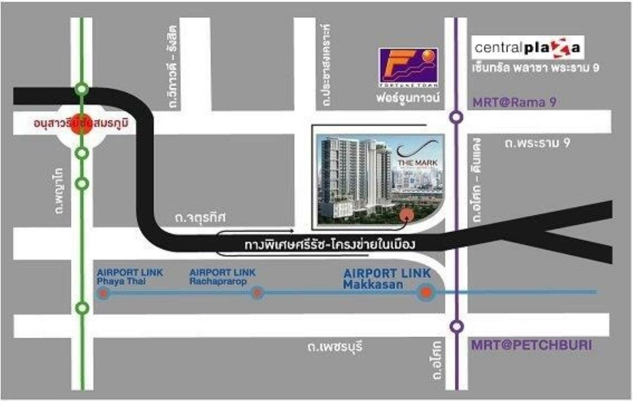 Agent - Prombood Agency's Sale - 1 Bedroom 40 sq.m. The Mark Ratchada-Airport Link near Phra Ram 9 MRT Station and Makkasan Airport Link 22