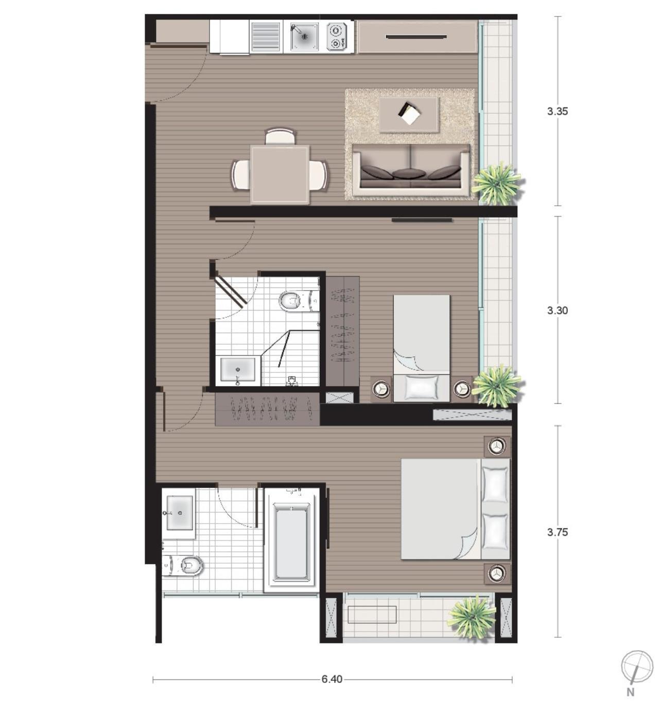 Landscope Thailand Agency's Noble Revo Silom 2-bedroom/2-bathroom on 18th floor 5