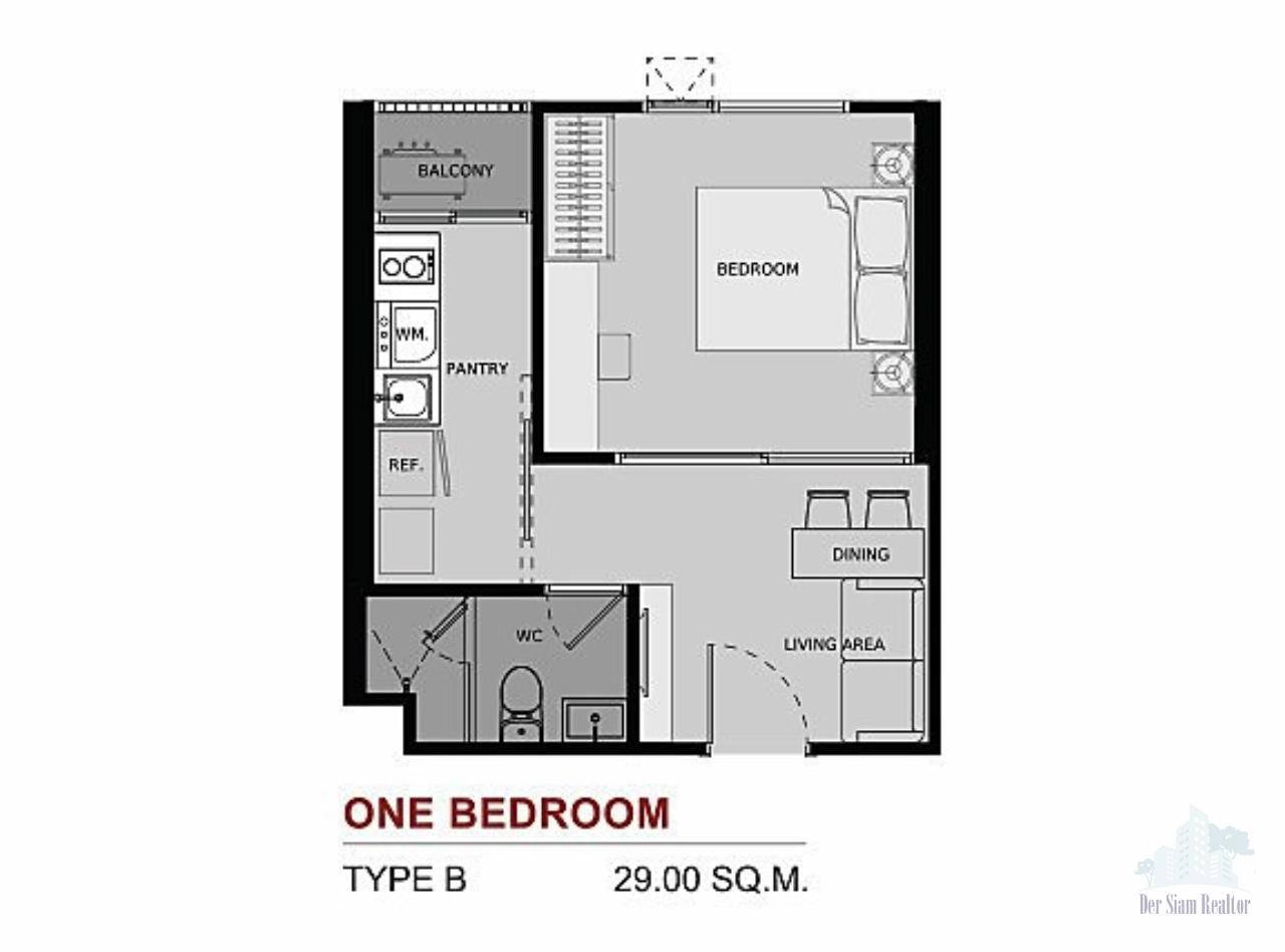 Smart Asset Management Agency's Best Price!!!  For Sell Life Asoke  1 bedroom 29 SQ.M. 6