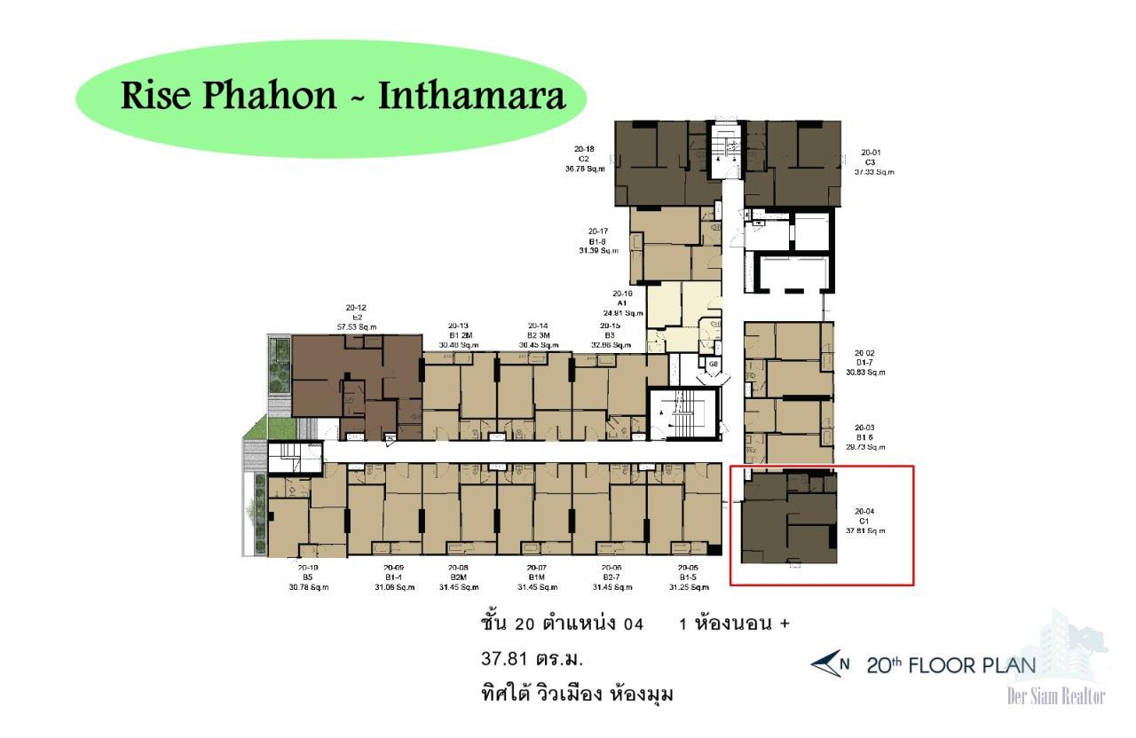 Smart Asset Management Agency's Best Unit!! For Sell Rise phahon- inthamaraok  near BTS saphankwai  / 1 bedroom plus  37.81 sq.m.   Type : 04   Facing : S  1