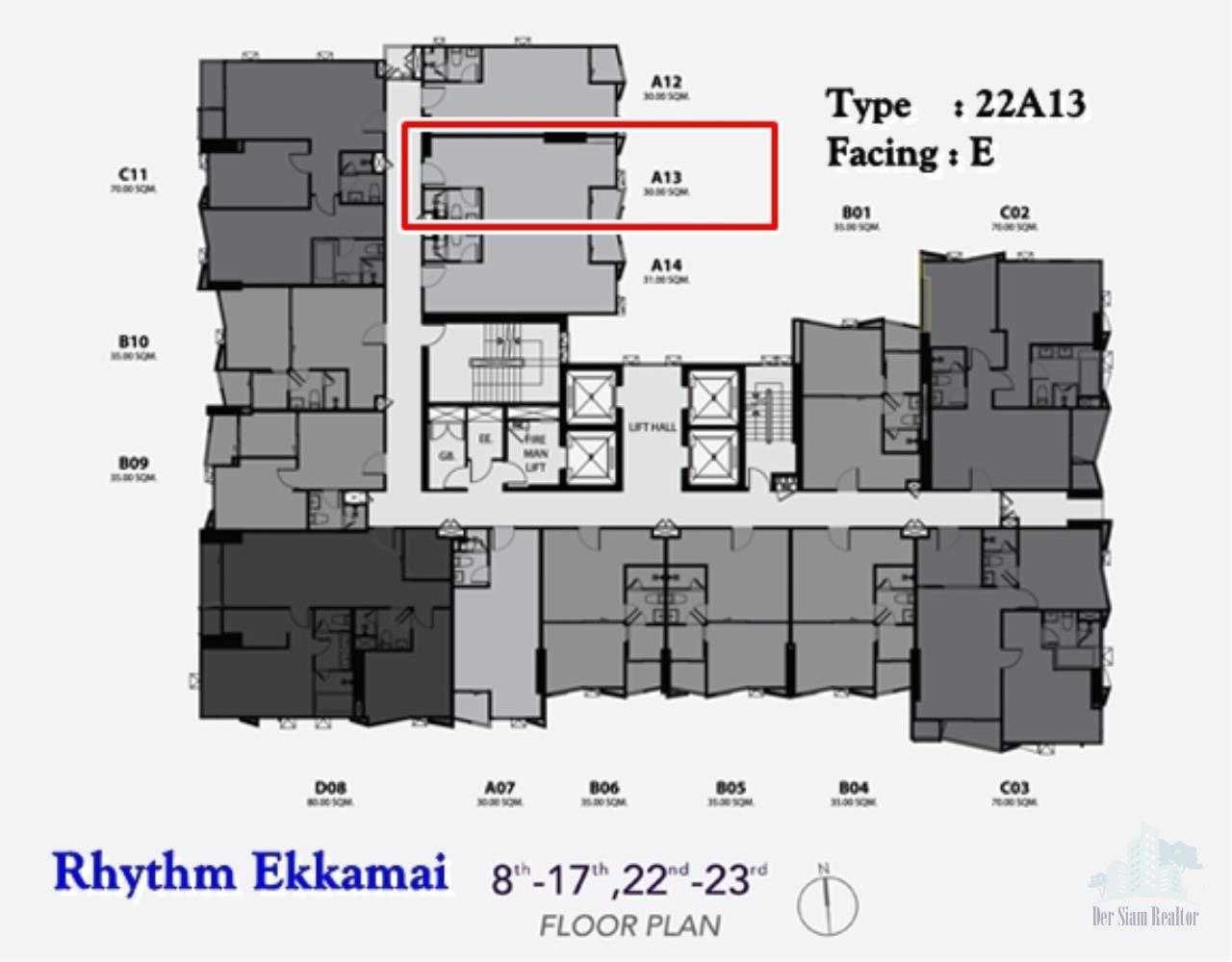 Smart Asset Management Agency's Best Unit!! For Sell Rhythm ekkamai near BTS ekkamai / studio  30 sq.m. Type : A13 1