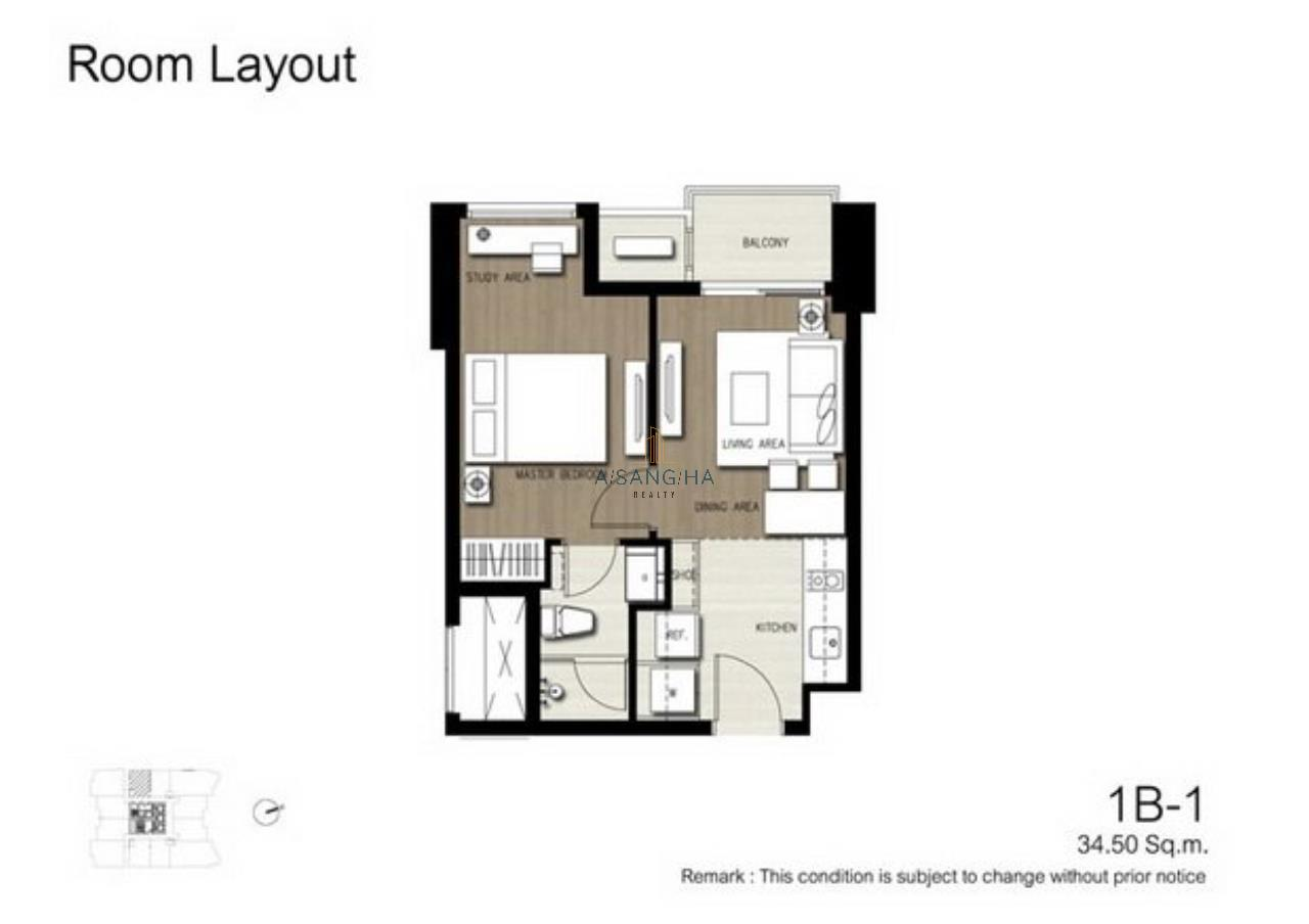 Asangha Realty Agency's For Rent - KEYNE BY SANSIRI at Thonhlo 1 bed reat  Very High Floor with great view   9