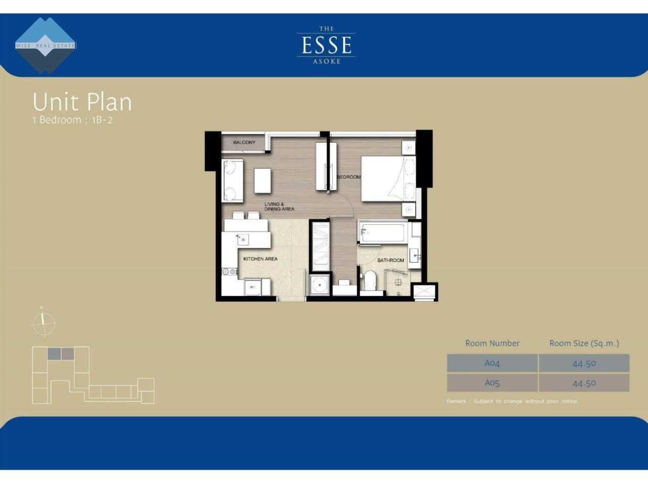 Wise Real Estate and Consultancy Agency's 1 Bedroom - The Esse Asoke 8