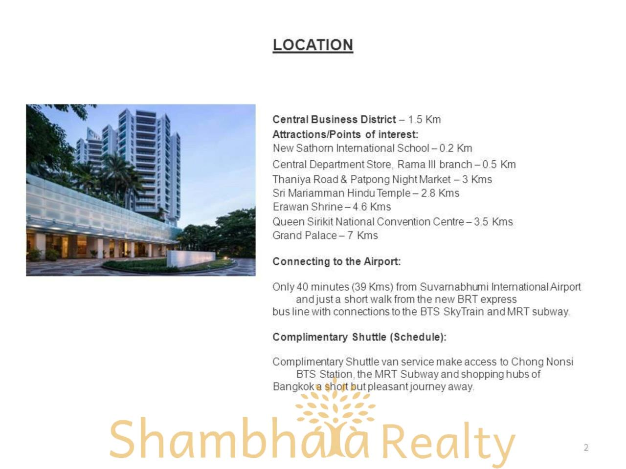 Shambhala Realty Agency's Chatrium Residence  Condominium for Rent in Sathorn 20