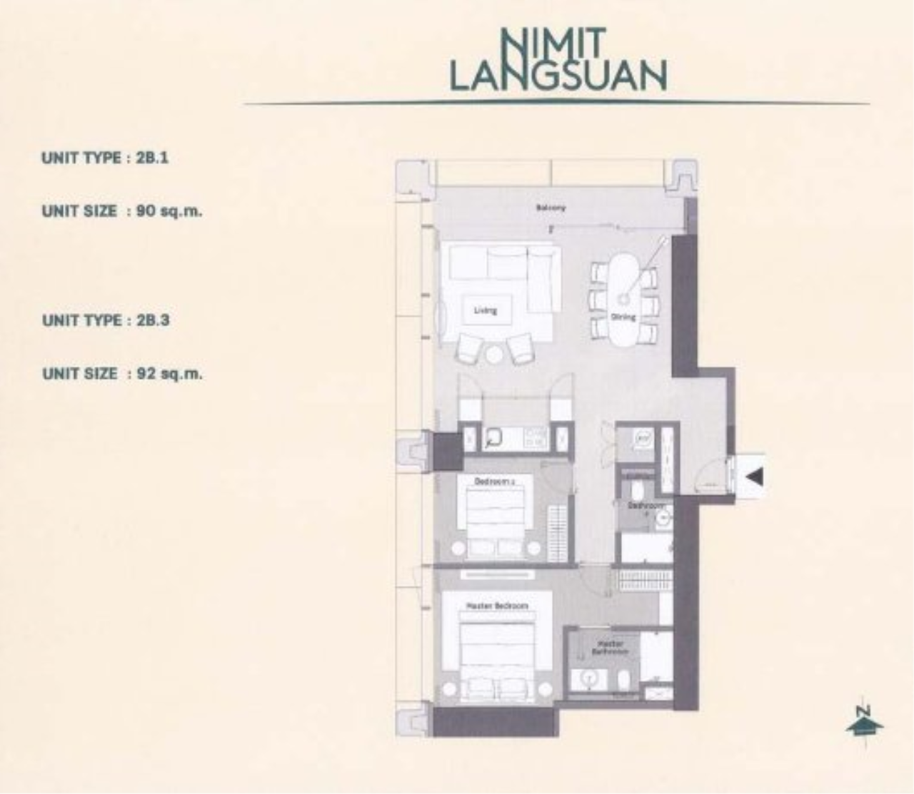 Piri Property Agency's Modern 2 Bedrooms in the Nimit Langsuan Condo for sale on high floor 3