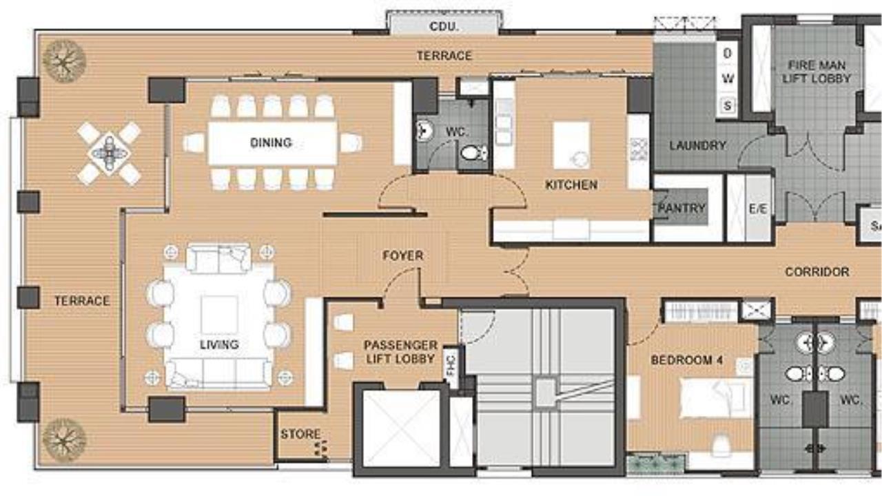 Piri Property Agency's 4 bedrooms  For Rent Panburi Apartments 4