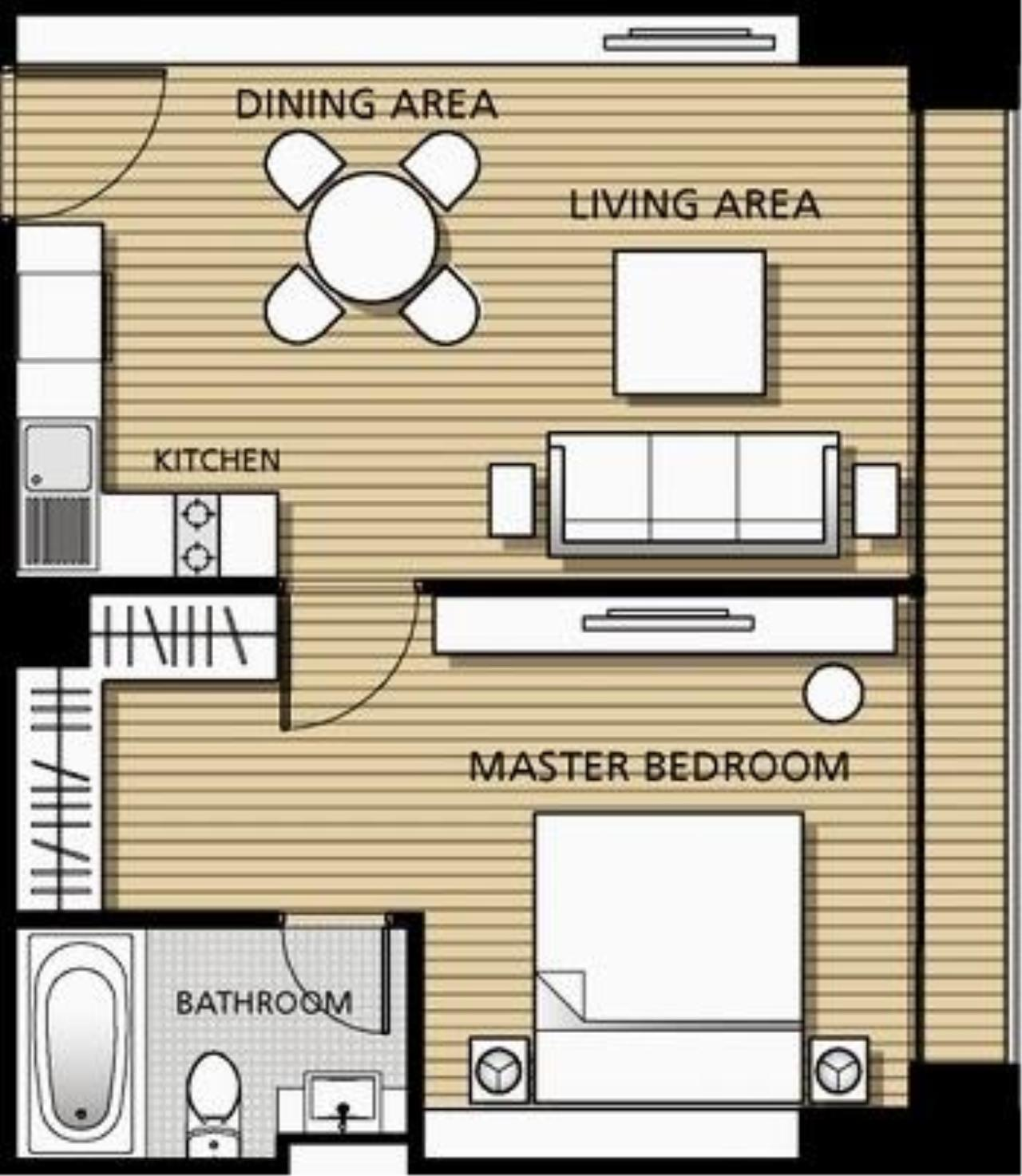 Piri Property Agency's one bedroom  For Rent Noble Solo 2