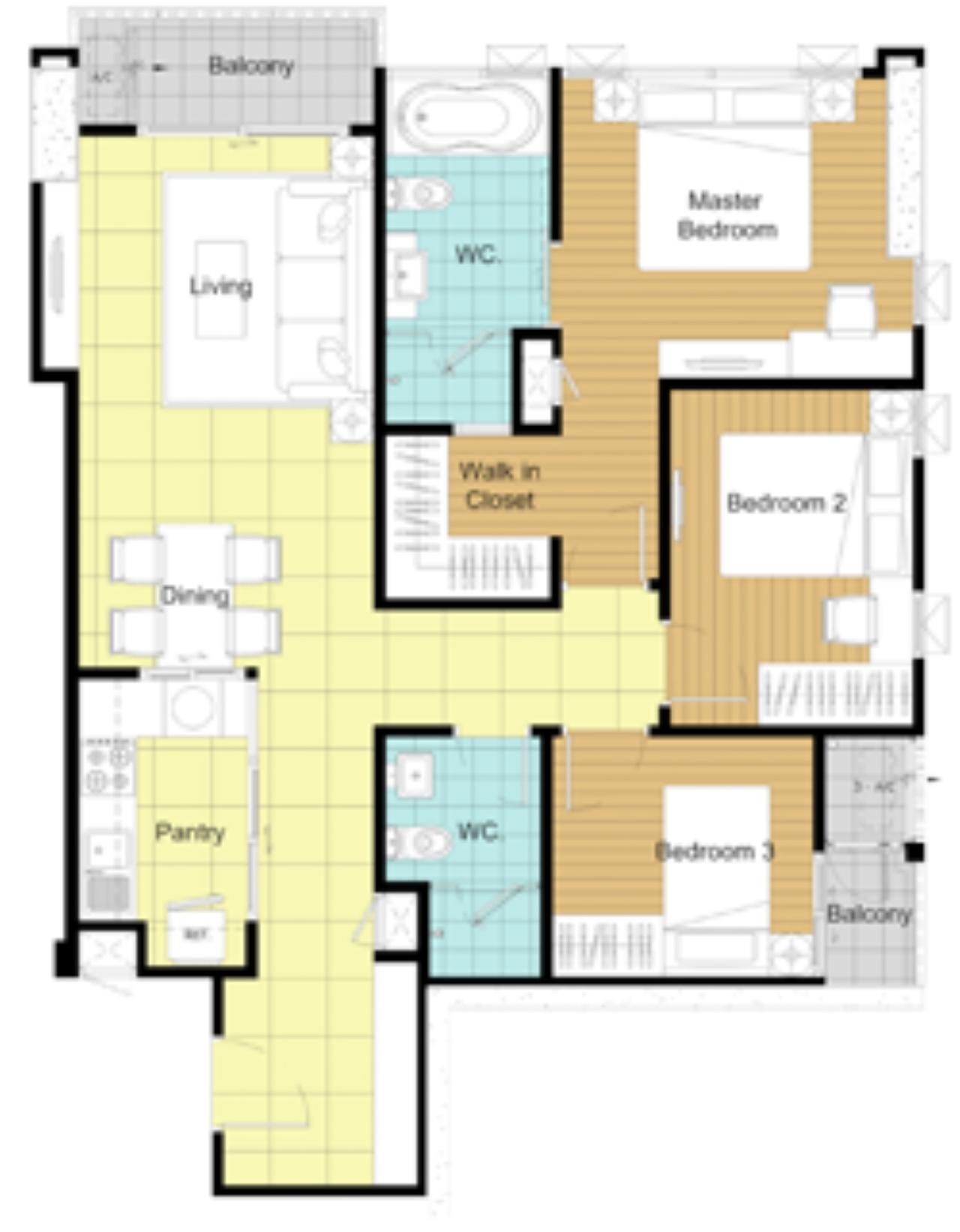 Piri Property Agency's 3 bedrooms Condominium  on 23 floor For Rent 3 20
