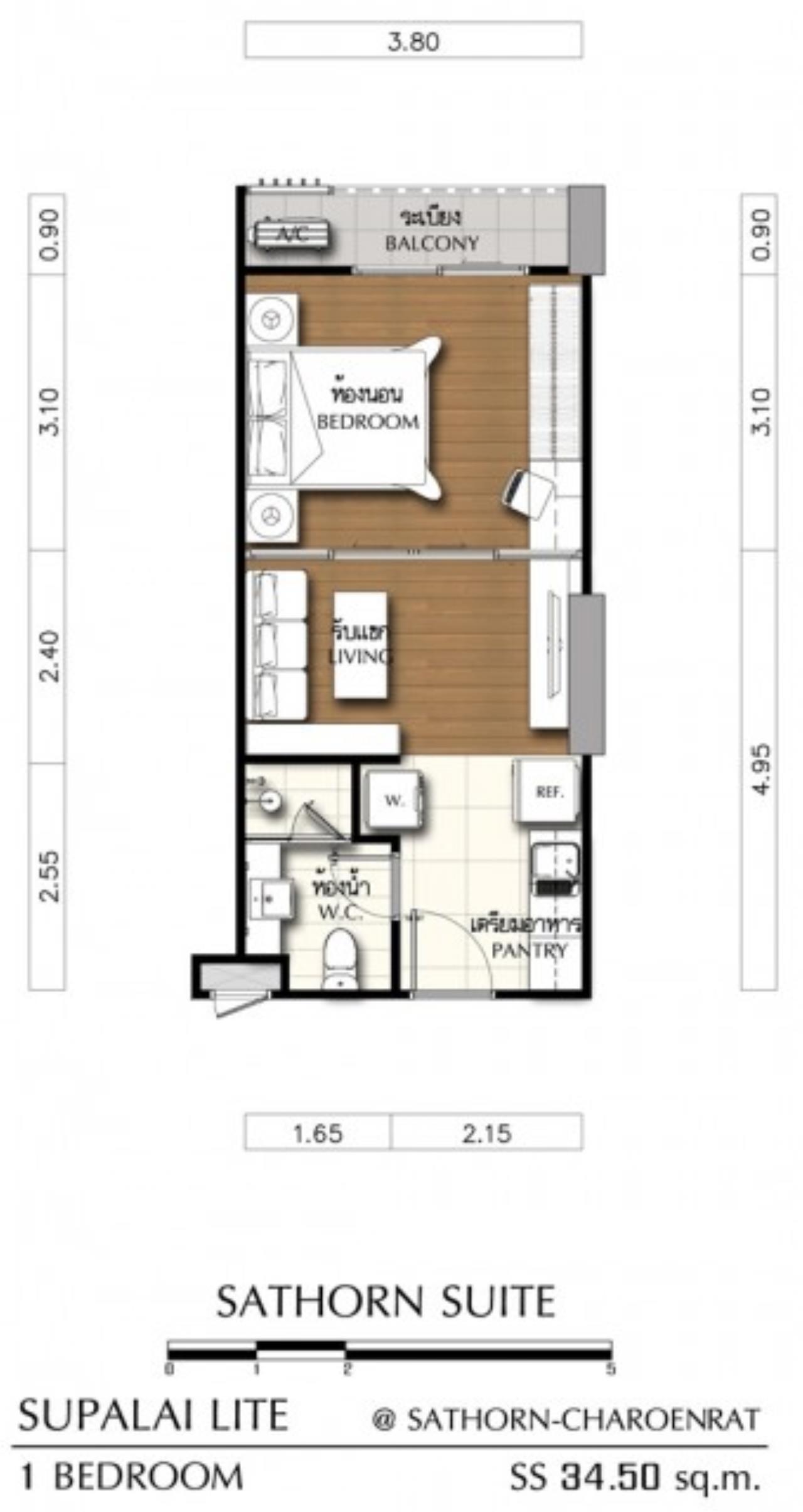 Piri Property Agency's Studio bedrooms Condominium  on 21 floor For Rent Studio 2