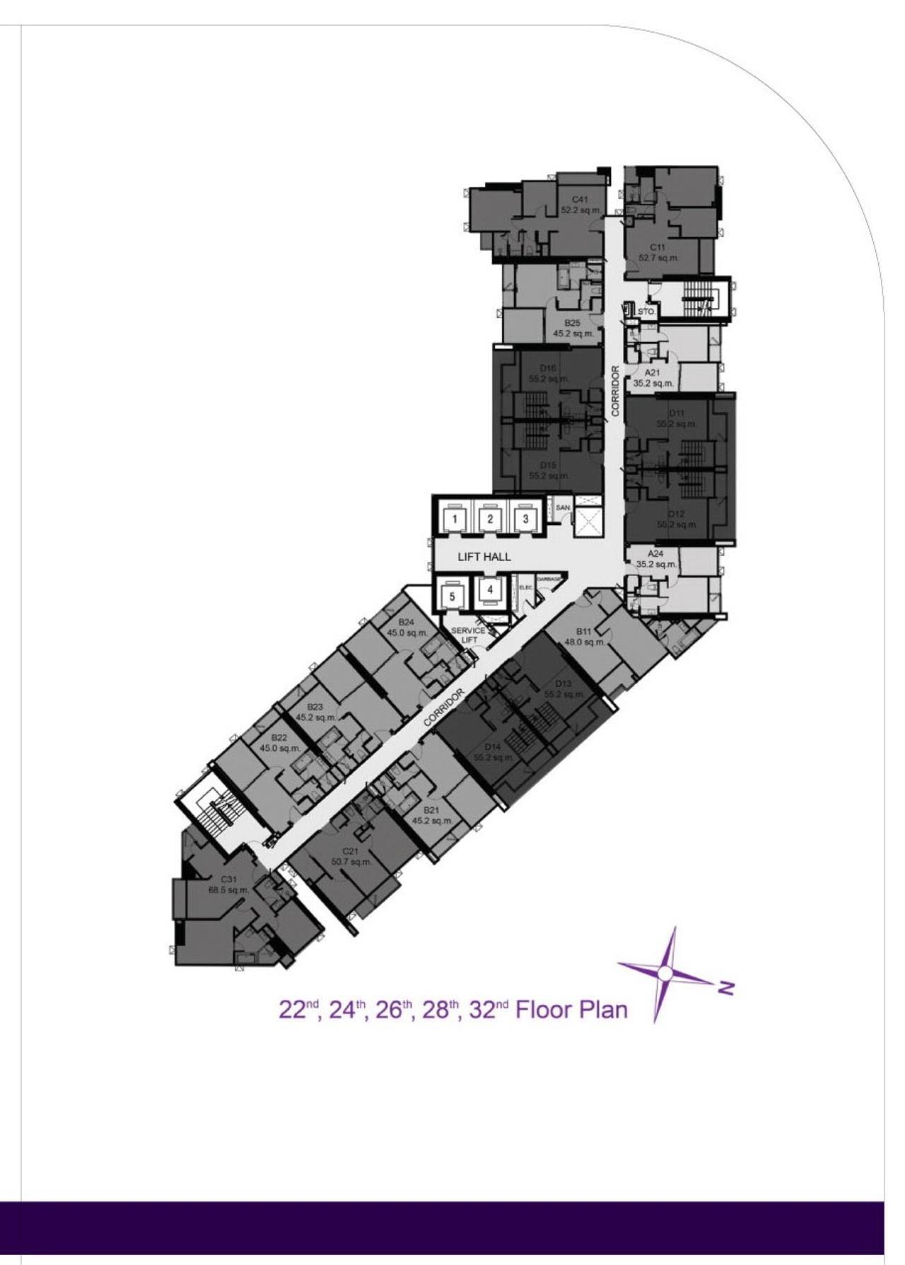 Piri Property Agency's 2 bedrooms Condominium  on 28 floor For Rent 2 13
