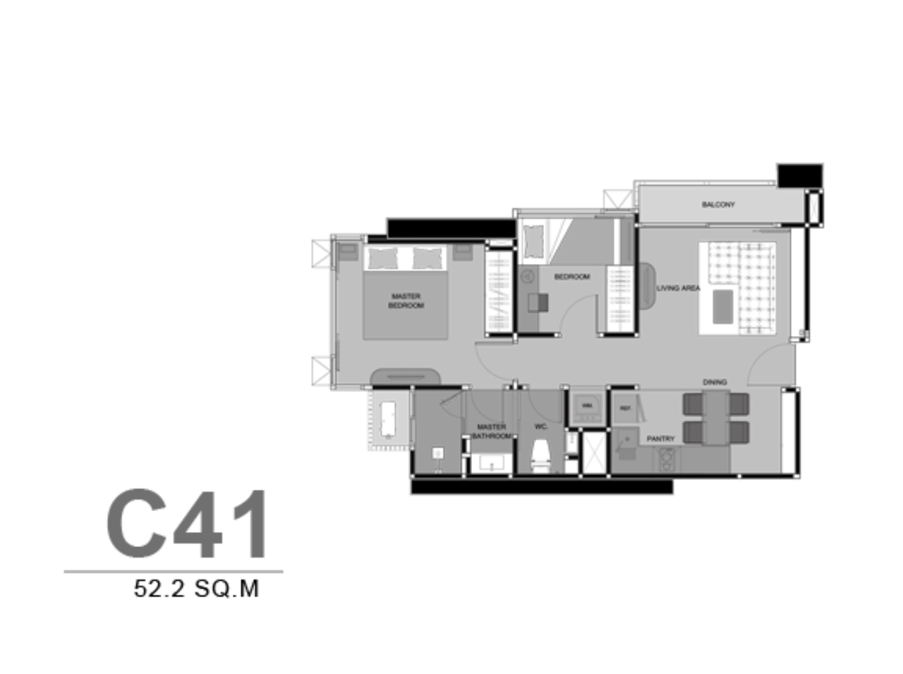 Piri Property Agency's 2 bedrooms Condominium  on 28 floor For Rent 2 12