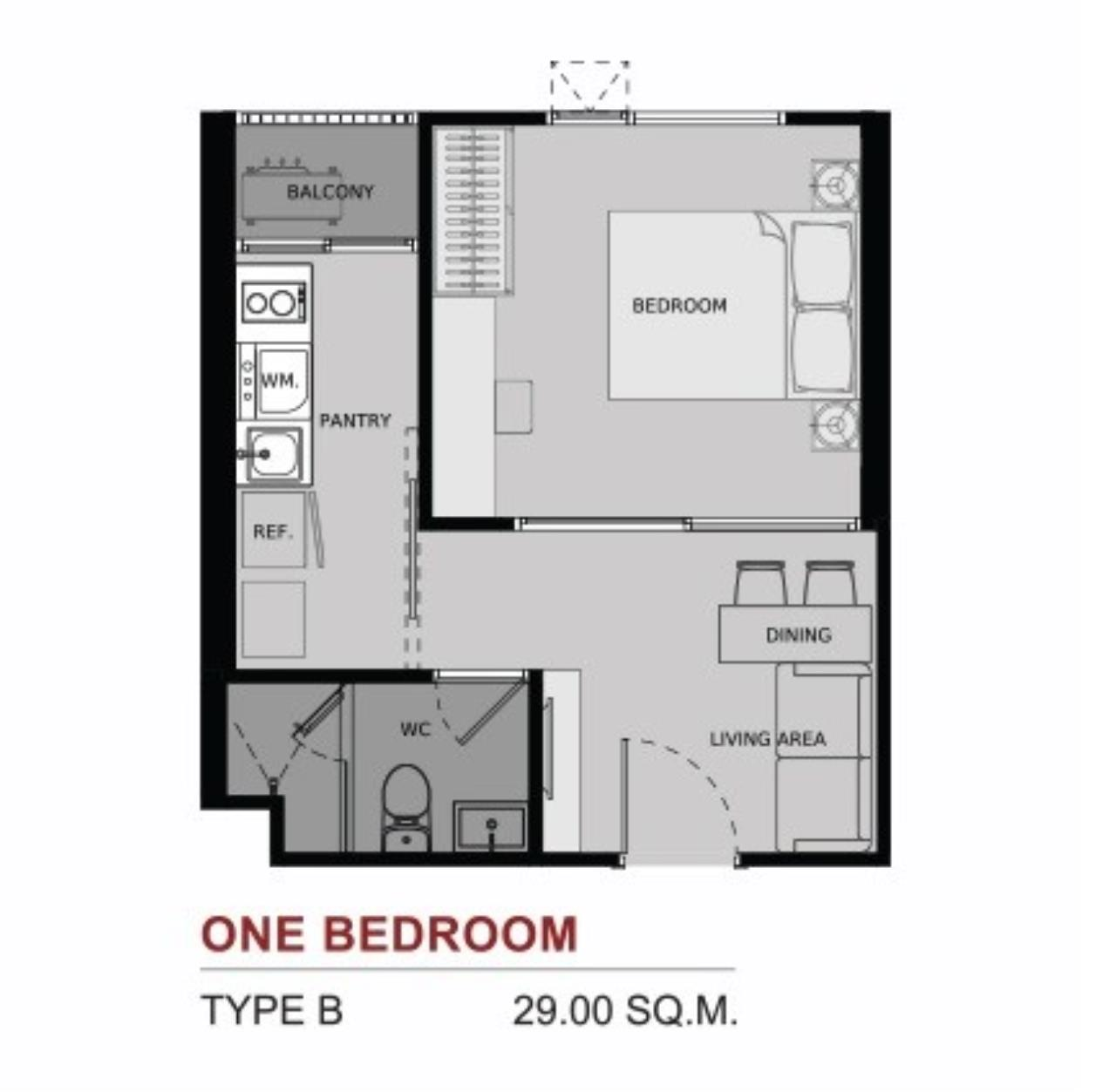 Piri Property Agency's one bedroom Condominium  on 12 floor For Sale 1 7