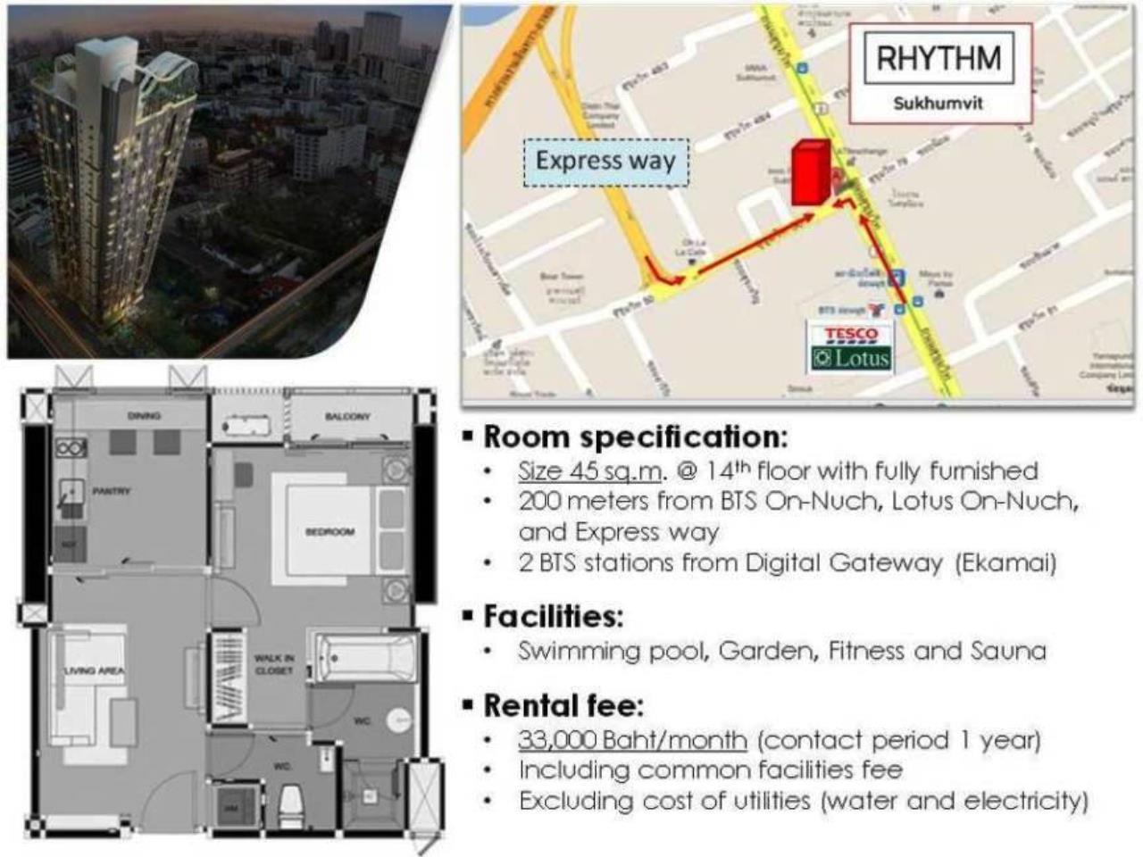 Piri Property Agency's one bedroom Condominium  on 14 floor For Rent 1 1