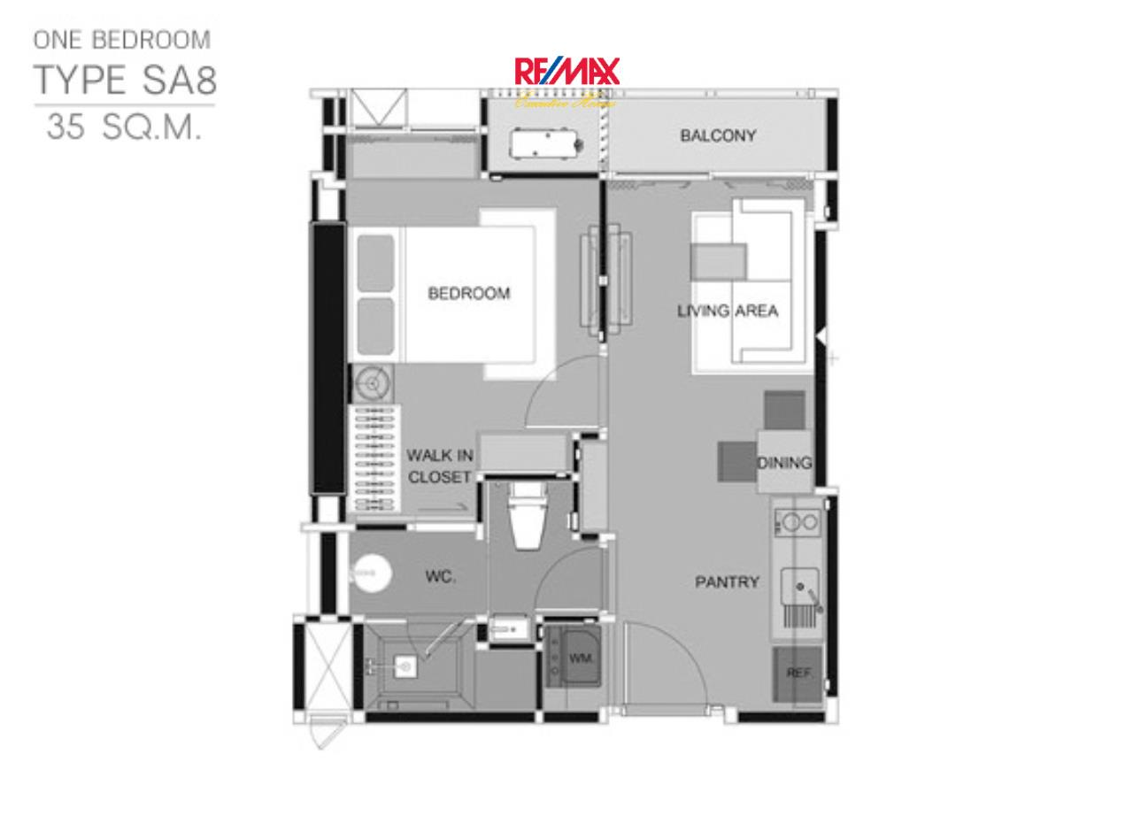 RE/MAX Executive Homes Agency's Rhythm Sathorn 21, 1 br-35 sqm for rent. 12